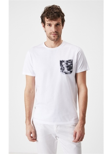 Boris Becker Boris Becker Kısa Kol Bisiklet Yaka Desenli Cep Detaylı  Erkek T-Shirt Beyaz